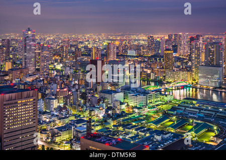 Tokyo, Japan cityscape aerial cityscape over Tsukiji Market at twilight. - Stock Photo