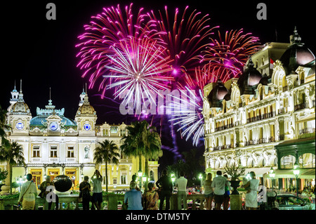 Europe, France, Principality of Monaco, Monte Carlo. Fireworks front of the casino. - Stock Photo