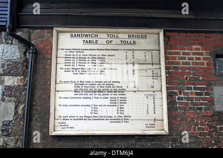 The table of tolls at the Toll Bridge in historic town of Sandwich, Kent, England, UK. - Stock Photo