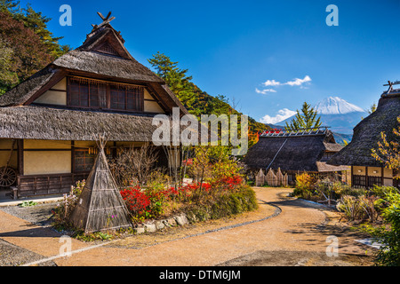 Japan at Iyashi No Sato Village with Mt. Fuji in the distance. - Stock Photo