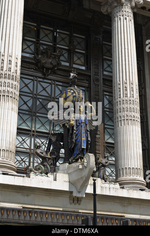 The Statue of Queen of Time riding in her ship of Commerce above the main entrance of Selfridges Store, Oxford Street, - Stock Photo