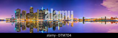 New York City Financial District skyline across the East River. - Stock Photo