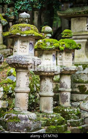 Nara, Japan. Japanese lanterns at Kasuga-taisha Shrine. - Stock Photo