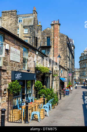 Cafes, bars and restaurants on John Street in the old town centre, Harrogate, North Yorkshire, England, UK - Stock Photo
