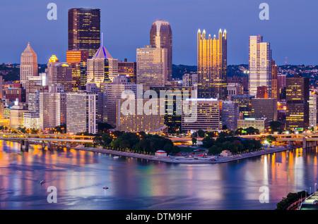 Pittsburgh, Pennsylvania, USA at twilight. - Stock Photo