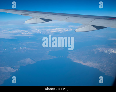 Aerial view of the Rio bridge on the North west Peloponese, Greece - Stock Photo