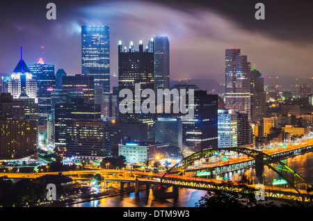 Pittsburgh, Pennsylvania, USA with low clouds. - Stock Photo