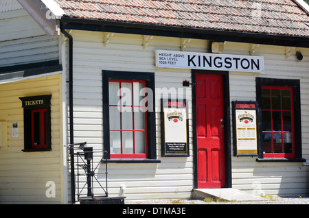 Kingston train station, home of the vintage steam train Kingston Flyer in Kingston, south island, New Zealand - Stock Photo