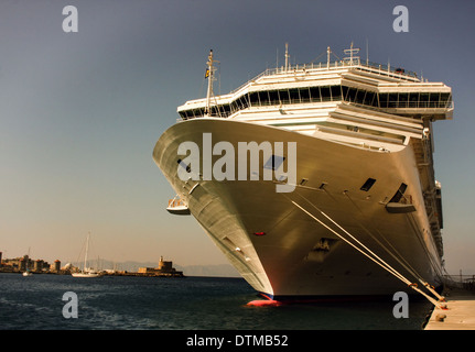 Cruise ship. Port of Rhodes - Stock Photo