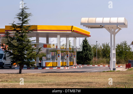 Gas station on the road - Stock Photo