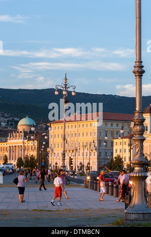 The beautiful city of Trieste planted in front of the Adriatic Sea - Stock Photo