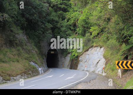 Moki Tunnel part of the Forgotten World Highway (SH 43), Whanganui National Park, North Island, New Zealand - Stock Photo