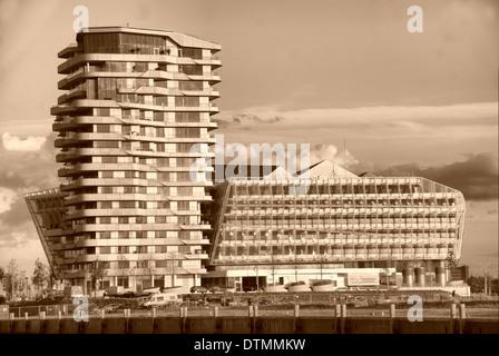 Marco Polo Tower in Hamburg's HafenCity - Stock Photo