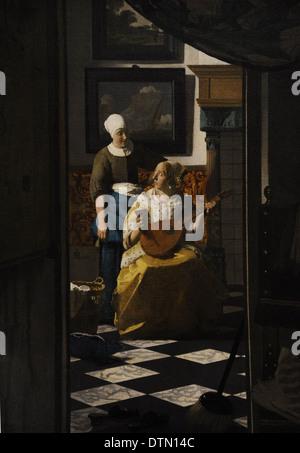 Johannes Vermeer (1632-1675). Dutch painter. The Love Letter, c. 1669-1670. Rijskmuseum. Amsterdam. Netherlands. - Stock Photo