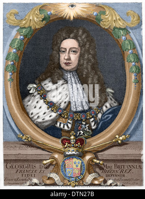 George II (1683-1760). King of Great Britain and Ireland. Elector of the Holy Roman Empire. Colored engraving. - Stock Photo