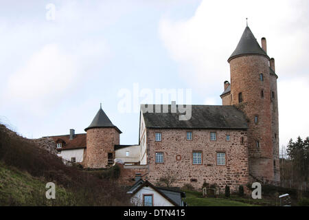 The Bertrada Castle in the Village Mürlenbach Eifel Germany - Stock Photo