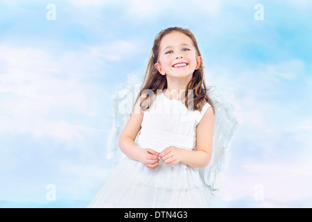 Cute little princess with pretty wide smile - Stock Photo