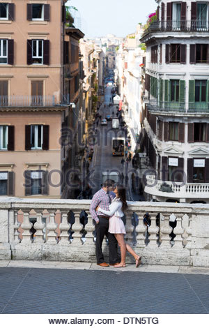 Couple in love on the terrace of Piazza di Spagna - Stock Photo