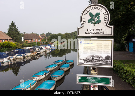 River Wey Navigations sign by the National Trust, Byfleet, Surrey, UK - Stock Photo