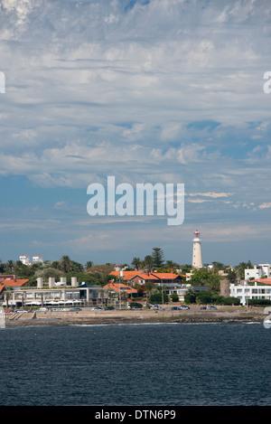 Uruguay, Punta del Este. View of the coastal area of the popular resort city of Punta del Este. Lighthouse (faro), - Stock Photo