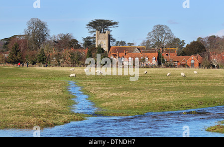 An English Rural Hamlet bathed in Winter sunshine with grazing Sheep and stream flowing through a water meadow - Stock Photo