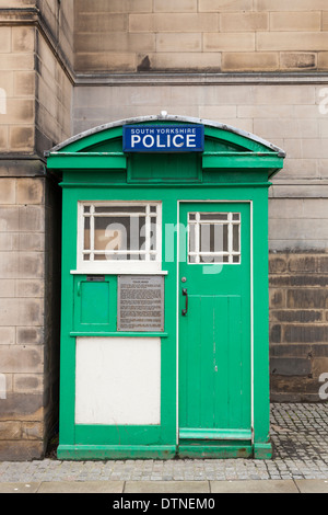 Grade two listed green Police Phone Box in Sheffield, England, UK - Stock Photo