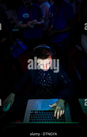Margate, Kent, UK. 21st February, 2014.  A young gamer intensely concentrates on a game at GEEK 2014, a gaming EXPO - Stock Photo