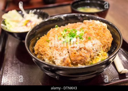 Katsudon - Japanese breaded deep fried pork cutlet (tonkatsu) topped with egg on steamed rice. - Stock Photo