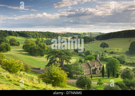 Church of St Mary the Virgin surrounded by beautiful countryside, Lasborough in the Cotswolds, Gloucestershire, - Stock Photo