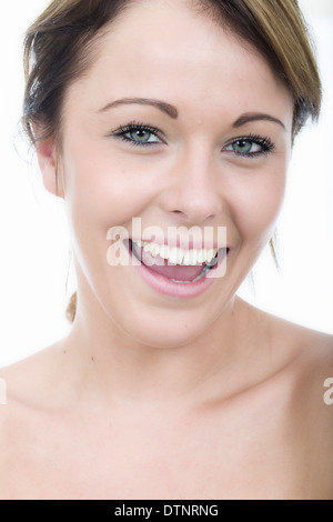 Beautiful Happy Young Woman, In Her Twenties, With Brunette Hair, Relaxed And Smiling, Isolated On White - Stock Photo