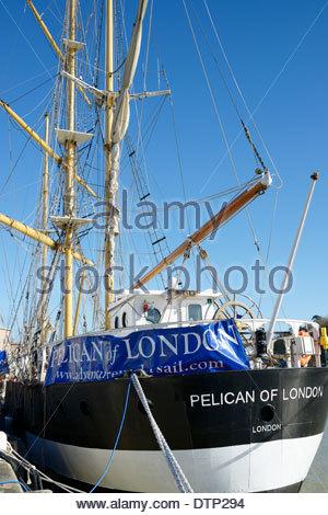 Pelican of London sail ship moored alongside the quay, Weymouth, Dorset, England - Stock Photo