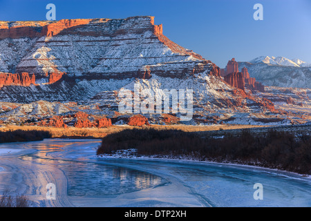 Winter sunset at the Fisher Towers, near Moab, Utah - USA - Stock Photo