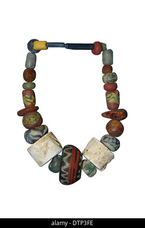 Glass and Amber Anglo-Saxon Bead Necklace - Stock Photo