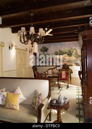 India, Goa, Siolim House, Portuguese colonial era mansion accommodation, sitting room interior - Stock Photo