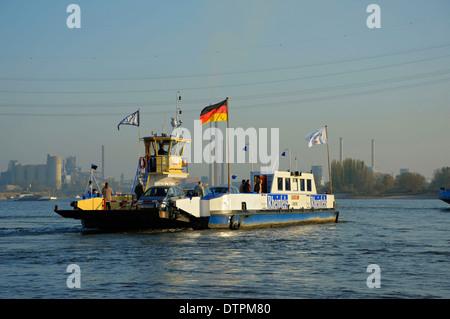 Ferry boat, river Rhine, Duisburg, North Rhine-Westphalia, Germany - Stock Photo