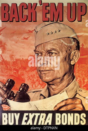 American WW2 propaganda poster urging the sale of war bonds - Stock Photo