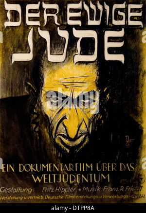 Anti Semitic propaganda poster from the German Nazi regime era in which the Jew is shown as an ugly, angry looking - Stock Photo