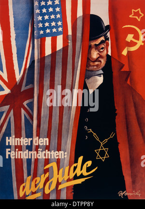 Anti Semitic propaganda poster from the German Nazi regime era in which the Jew is shown as a rich, fat and ugly - Stock Photo
