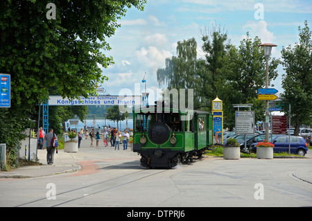 Chiemseebahn, railway in Prien, Chiemsee, Chiemgau, Bavaria, Germany - Stock Photo