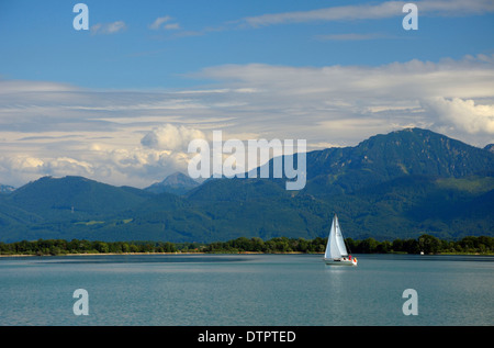 Sailboat on Chiemsee, Bavaria, Germany - Stock Photo