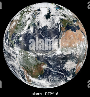 Earth as seen from space featuring the Atlantic, Arctic, east coast of Africa, South America, western Europe and - Stock Photo