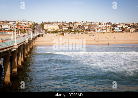 Los Angeles, USA - March 10 - Manhattan Beach and pier on a warm sunny day on March 10th 2011. - Stock Photo