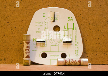 UK three pin plug wiring diagram with 13amp fuses. - Stock Photo