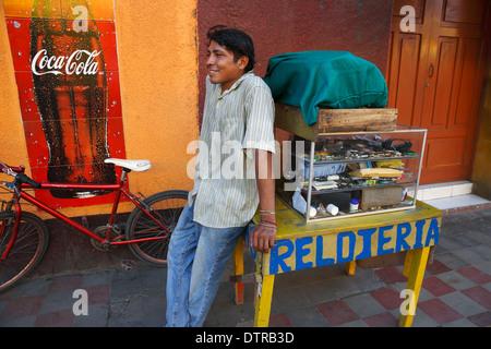 Man selling watches, Mercado Municipal, Granada, Nicaragua - Stock Photo