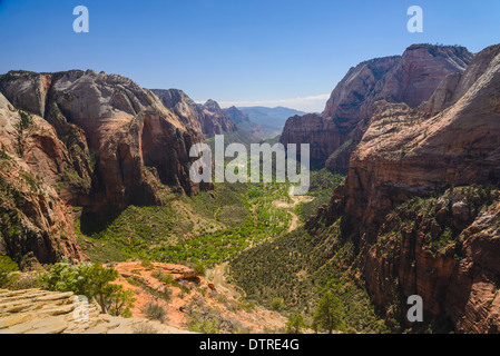 View of Zion Canyon from Angels Landing, Zion National Park, Utah, USA - Stock Photo