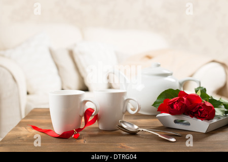 Tea Cups With Roses For Valentineu0027s Day   Stock Photo