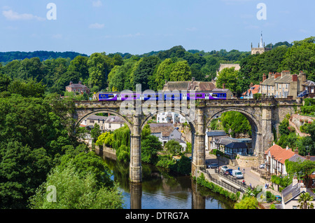 Northern Rail train on the viaduct over the River Nidd, viewed from the Castle, Knaresborough, North Yorkshire, - Stock Photo