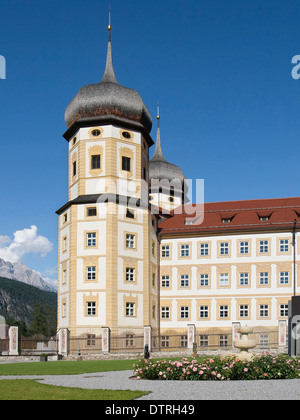 Onion-domed towers of the Stams Abbey in Austria. - Stock Photo