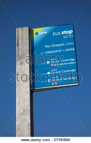 Bus stop sign at the Fen Drayton nature reserve on the guided busway between St Ives and Cambridge - Stock Photo