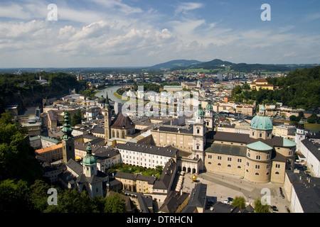 Salzburg old town view from Hohensalzburg castle, Austria. - Stock Photo